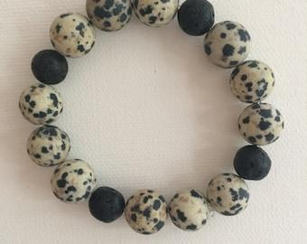 Dalamtion Jasper and Lava Rock Stretch Bracelet