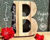 """12"""" Tall - Rustic Letter,Wood Letters, Reclaimed Wood,Salvaged Wood, Rustic Home Decor,Nursery Letters,Woodland Theme Nursery Decor,Wooden B"""