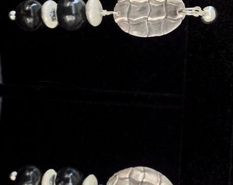 Woven Fine Silver Shapes with Sterling Silver and Glass Beads