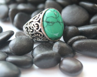 Green Turquoise Gypsy Ring