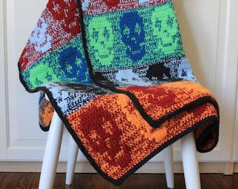 CROCHET PATTERN Skull Blanket / Throw, Crochet Skull Blanket Pattern, PDF, Crochet Blanket for Boys, Crochet Blanket, Halloween Blanket