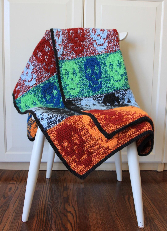 Crochet Pattern Skull Blanket Throw Crochet Skull Blanket
