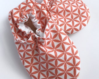 Coral Print Cloth Baby Booties