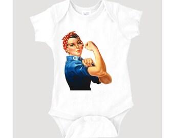 Rosie the Riveter graphic on 100% Cotton Onesie/Creeper
