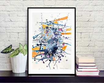 "Watercolor abstract art print on cardboard in black, white, navy blue, bright orange and pink, modern art 12x16""/30x40 cm, 20x28""/50x70 cm"