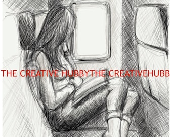 """Drawing - """"Daydreaming on a Plane"""""""