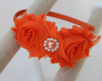 Orange headbands, orange flower girl headbands, orange shabby chic headband, big girl headbands, orange flower girl outfit headband