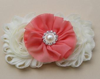 Coral headband ivory headband flower girl headband coral wedding headband girls hard headband toddler headband wedding bridesmaid headband