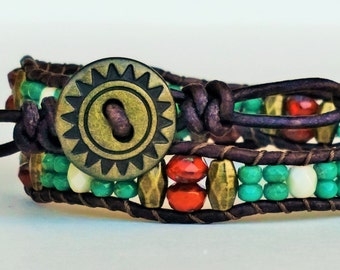 Double wrap beaded leather bracelet- Turquoise, burnt orange, antique brass, and cream- Sunburst metal button closure