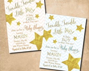 Twinkle Twinkle Little Star Invitation/Baby Shower/girl baby, boy baby, gold stars, wonder, gender reveal/Wording & Colors can be changed
