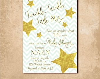 """Baby Shower Invite...""""Twinkle, Twinkle Little Star"""" with gold foil detail /digital file printable/wording & background color can be changed"""
