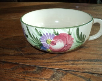 Vintage French Soup Bowl Cup  with happy looking  hand painted floral designs in Very Good Condition with well developed patina