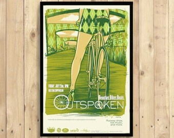 Beautiful Bikes Beats Festival Print - Bicycle Poster Retro Poster Cycling Print Bike Prints Vintage Poster    Reproduction
