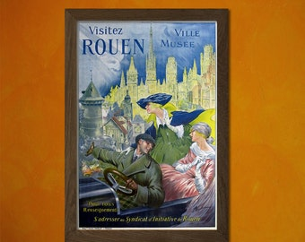 Visit Rouen France Poster 1910 - Vintage Tourism Travel Poster Advertising Retro Wall Decor Design Art Print Qualityt
