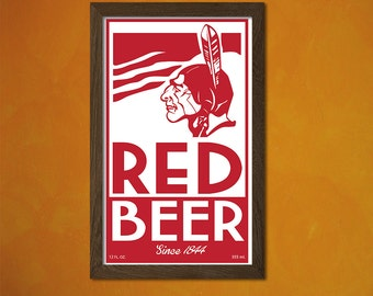 Red Beer Poster -  Vintage Kitchen Poster Alcohol Drink Retro Art Reproduction Office decoration Art Prin  t
