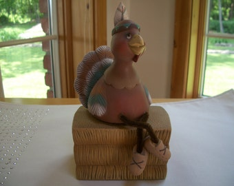 Ceramic Thanksgiving turkey Indian on hay bale