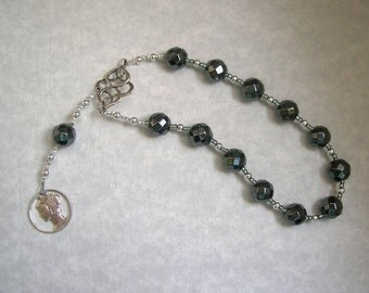 Hermes Pocket Prayer Beads in Hematite: Greek God of Communication, Commerce, Competition, Diplomacy, Athletics, Travel,  and Cleverness