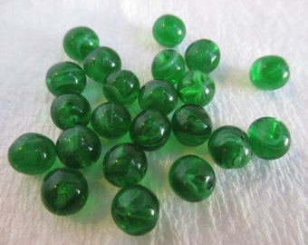 Package of 20 Half-Drilled Vintage Green Swirl Glass Beads 6mm. Item:BC818453