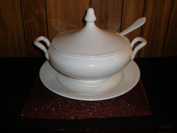 Laveno Soup Tureen Plate Ladle Set Vintage 1950&#
