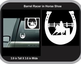 Barrelracer in Horseshoe decal, barrelracer decal, barrel racer decal, barrelracer sticker