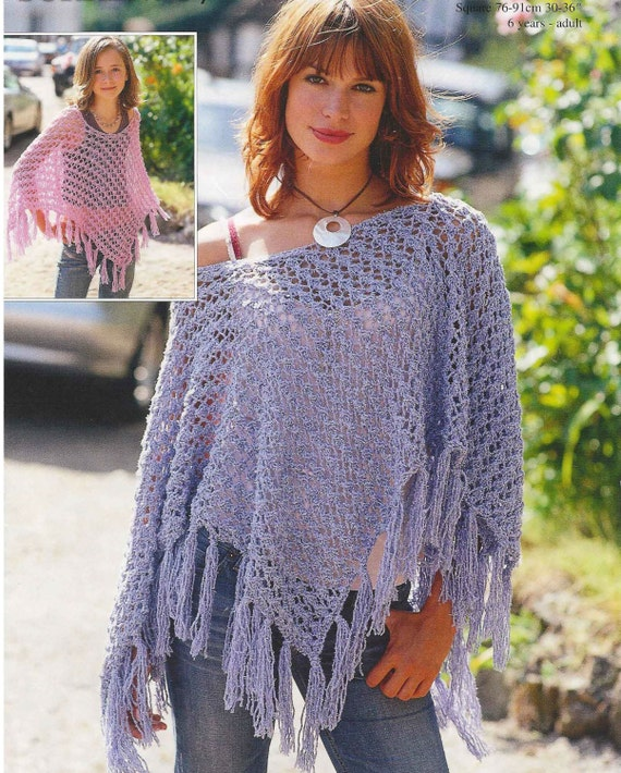 Knit Poncho Vintage Knitting Pattern Size 6 years by OhhhBabyBaby