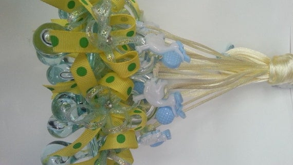 pacifier necklace baby shower party favor game supplies boy with stork