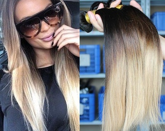 3 tone ombre 1b/4/27 Brazilian straight ombre hair extensions 7A 100% virgin human hair  weaving hair weft free shipping