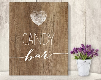 Candy Bar Sign // Rustic Wedding Dessert Sign DIY // Rustic Wood Sign, White Calligraphy Printable PDF, Rustic Poster ▷ Instant Download