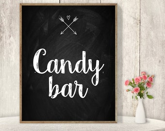 Candy Bar Sign / Rustic Wedding Dessert Sign DIY / Rustic Chalkboard Poster, Whimsical Arrow, Heart, Chalk Lettering ▷ Instant Download