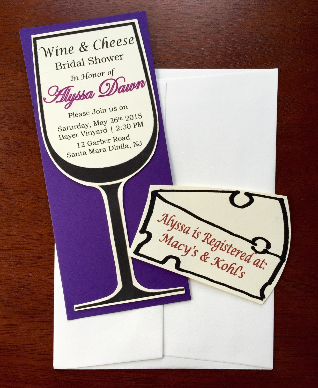 Wine Glass Bridal Shower Invitations Wine And Cheese Theme