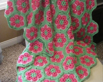 "Granny Square Crochet Baby Blanket 38""x 46"" In Stock Ready to Ship"