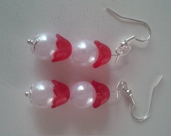 Red and White Beaded Earrings   (#287)