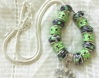 Crown Charm Green Black Glass Beads Silver Plated Necklace 20 Inches