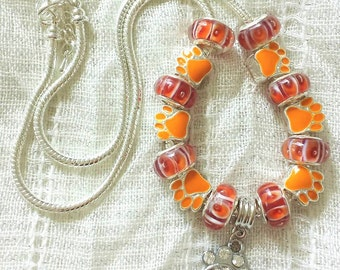 Pet Lover Charm Red Orange Glass Beads Silver Plated Necklace 20 Inches