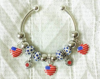 American Heart Rhinestone Charms Silver Plated Bangle Bracelet 7.5 Inches