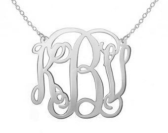 SALE 1.5 Inch Silver Monogram Necklace 1.5 in Personalized Monogram 925 sterling silver