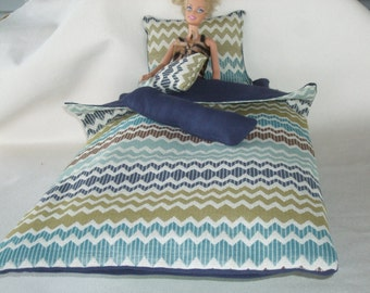 Chevron 5 piece set Barbie Doll Bedding