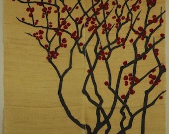 """traditional linen noren, door way curtain. red plum on yellow (WE0660) 35""""W x 59""""L"""