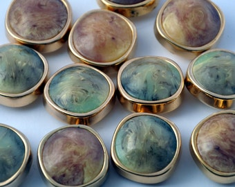 Set 8  Gold buttons with shades of green or brown diameter 1""