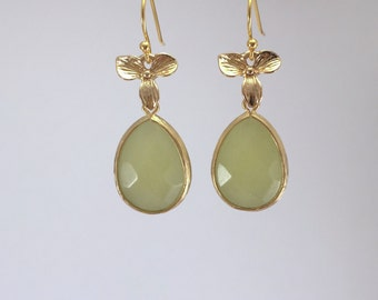 Jade flower Drop Earrings