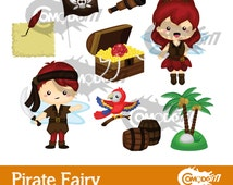 50% OFF !! Pirate Fairy Clipart / Digital Clip Art for Commercial and Personal Use / INSTANT DOWNLOAD
