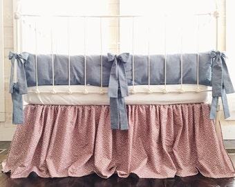Baby Girl Bedding Floral - Chambray Crib Bedding Set - Chambray Bedding - Floral Bedding - Denim Crib Bedding - Floral Print Crib Bedding