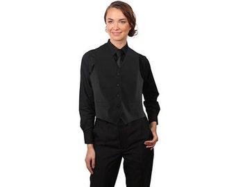 Women's Black Adjustable Back Dress Vest