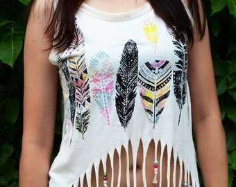 tank - top has fringes - ethnic motif - feathers - ethnic fringes tank-top - shopaholic
