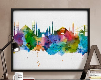 Istanbul watercolor skyline, Istanbul Turkey cityscape print, watercolor art, wall art, watercolor Istanbul poster, home decor, wall decor,