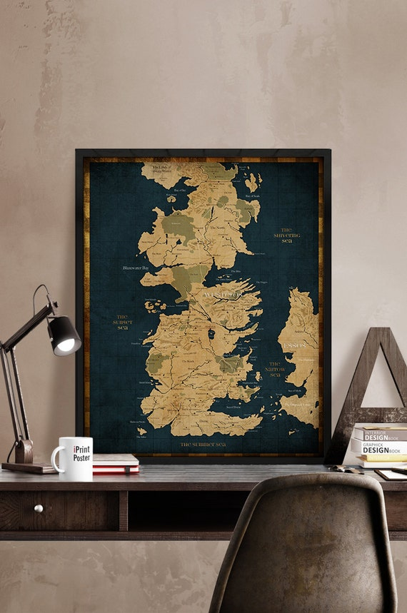 Game of thrones map westeros vintage map style by iprintposter for Decoration geek