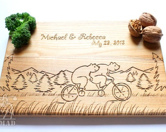 Personalized Engraved Cutting Board, Wood Cutting Board, Bears, Anniversary Gift, Wedding Gift, Engagement Gift, Housewarming Gift
