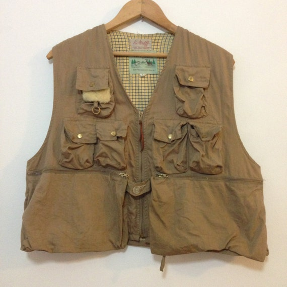 Vintage lee wulff fly fishing vest tuff gear tan twill pockets for Toddler fishing vest