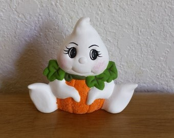 Ceramic Small Ghost with Pumpkin Belly (#220B)