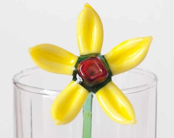 Glass Flower Yellow Deasy Hand Blown Figurine
